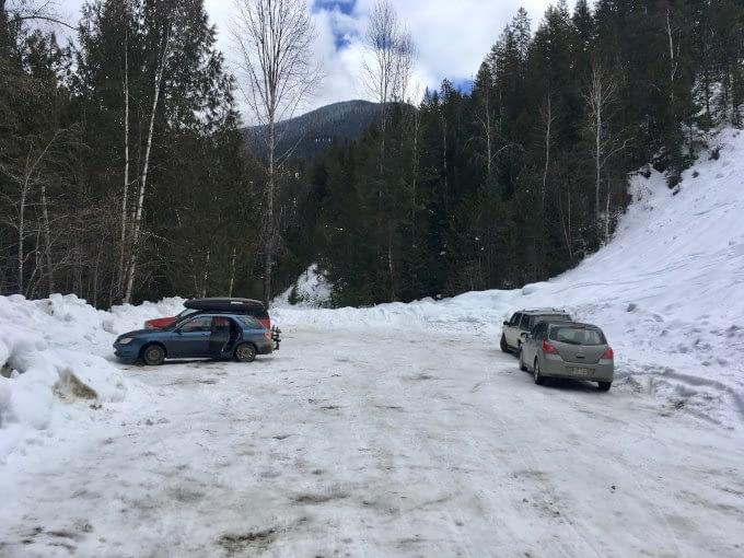 Plowed parking area at Halfway Hot Springs